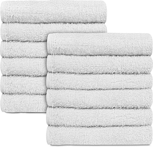 set of 24 100/% cotton white economy terry hotel hand towels cleaning cloths
