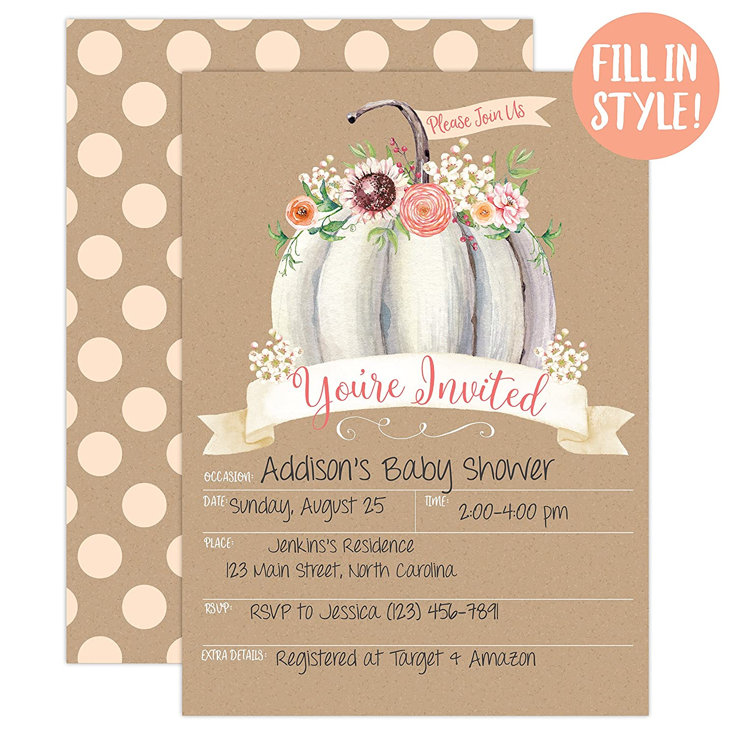 Amazon.com: Pumpkin Fall Baby Shower Invitations, Pumpkin Baby Shower  Invitation, Girl Fall Shower Invite, Little Pumpkin, Autumn Floral Baby  Shower, ...