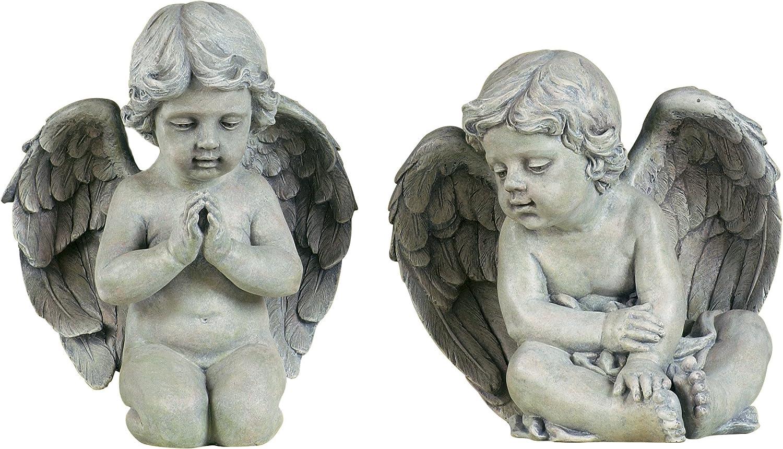 Roman Josephs Studio Inspirational Sitting Cherubs Outdoor Garden Statue, 9.5-Inch - 2 Statues