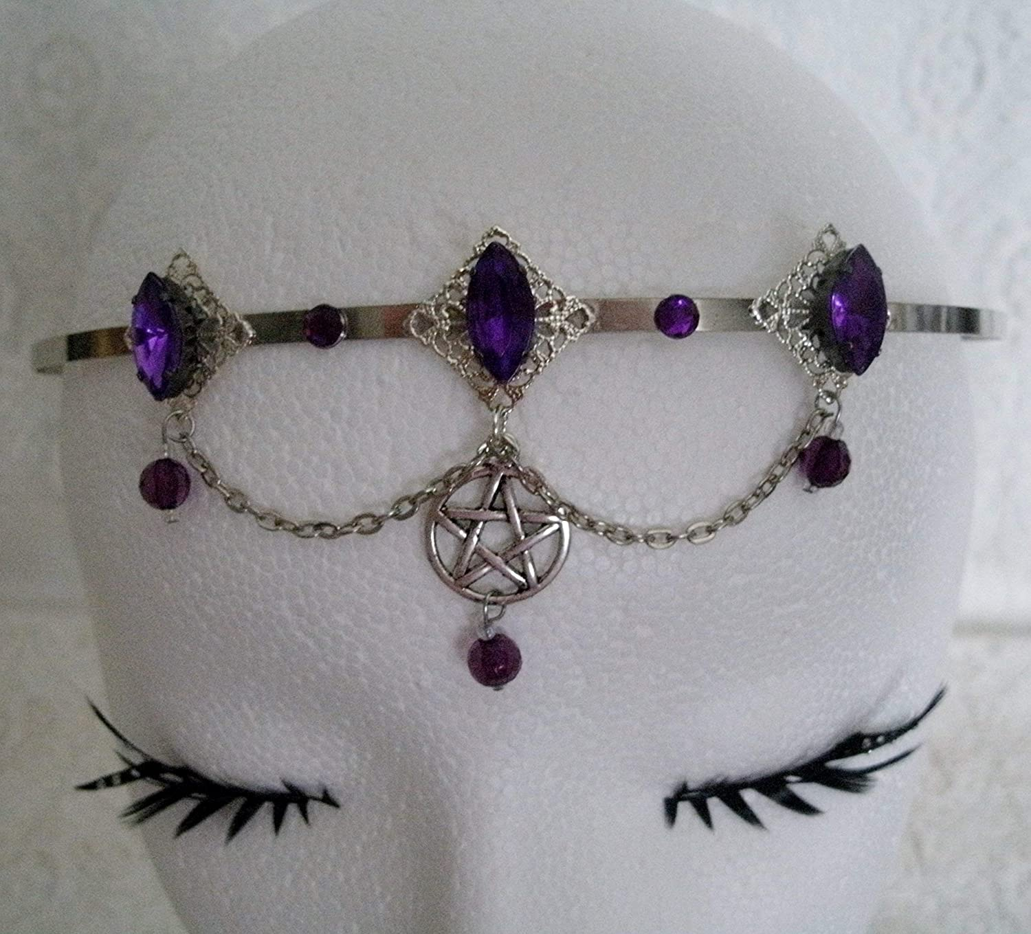 Pentacle Circlet handmade jewelry wiccan pagan wicca goddess witch witchcraft pentagram headpiece handfasting