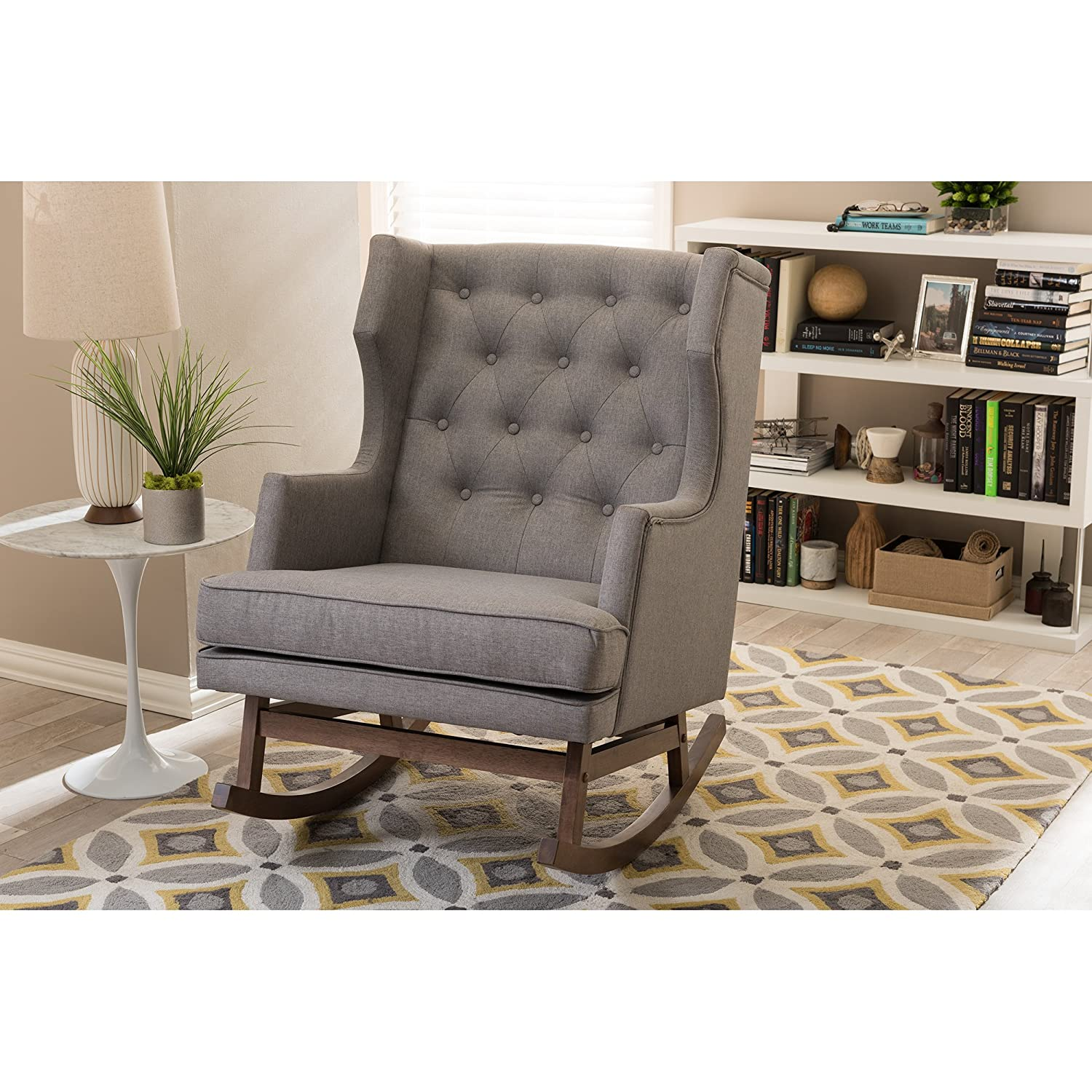 Mid century wood rocking chair - Amazon Com Baxton Studio Iona Mid Century Retro Modern Fabric Upholstered Button Tufted Wingback Rocking Chair Grey Kitchen Dining
