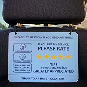 "Nebudo Compatible with Lyft Uber (2-Pack) Tips Rating Appreciated Rideshare Accessories – 7"" x 5"" – Interior Acrylic Headrest Sign - Rate Me Tip No Smoking for 5 Star Rides for Ride-Share Drivers"