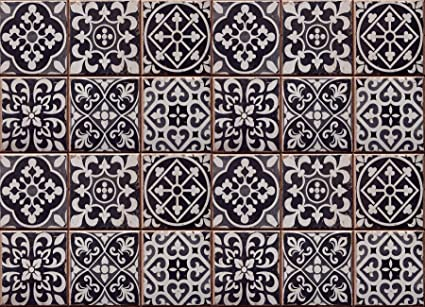 Home Decor Line CR-67253 Tiles Azulejos Kitchen Panel, Black ...