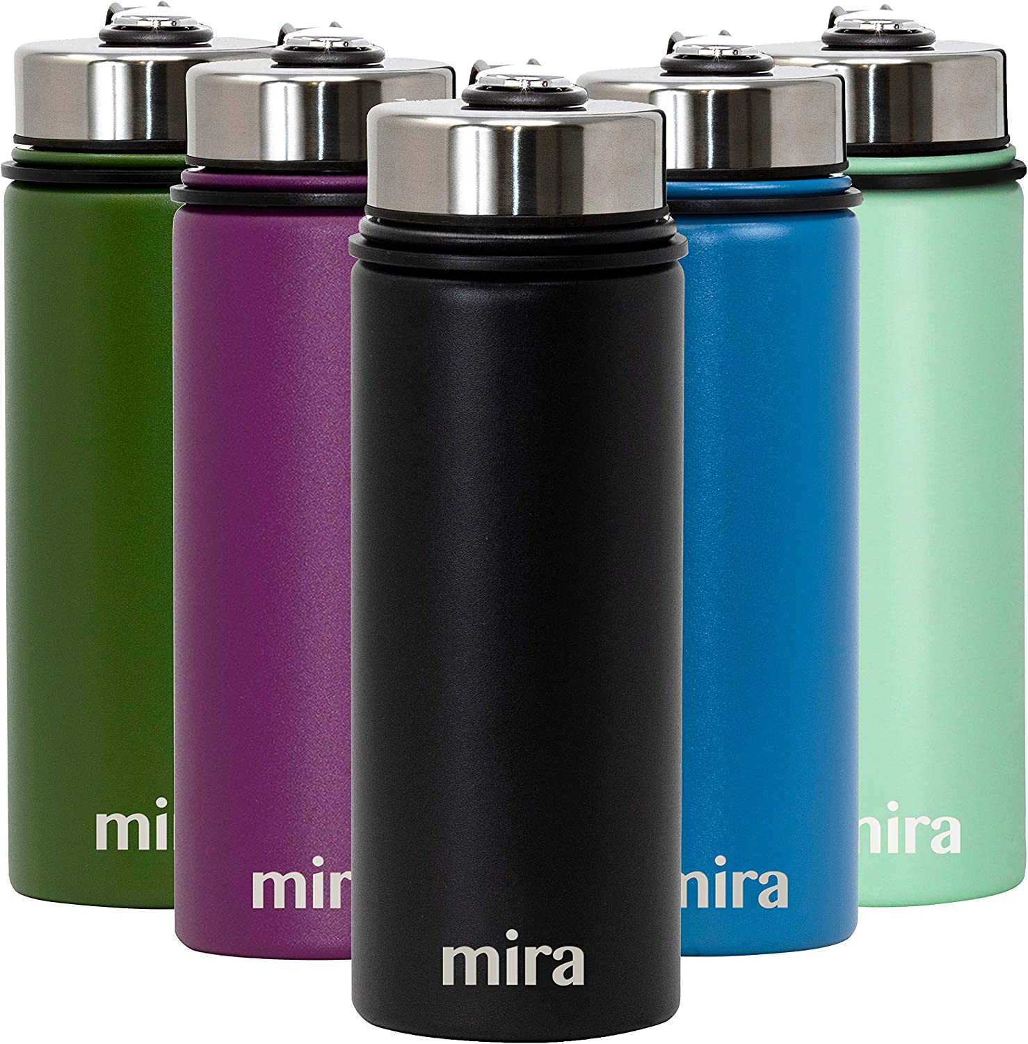 MIRA 18 Oz Stainless Steel Vacuum Insulated Wide Mouth Water Bottle | Thermos Keeps Cold for 24 hours, Hot for 12 hours | Double Walled Powder Coated Travel Flask | Black