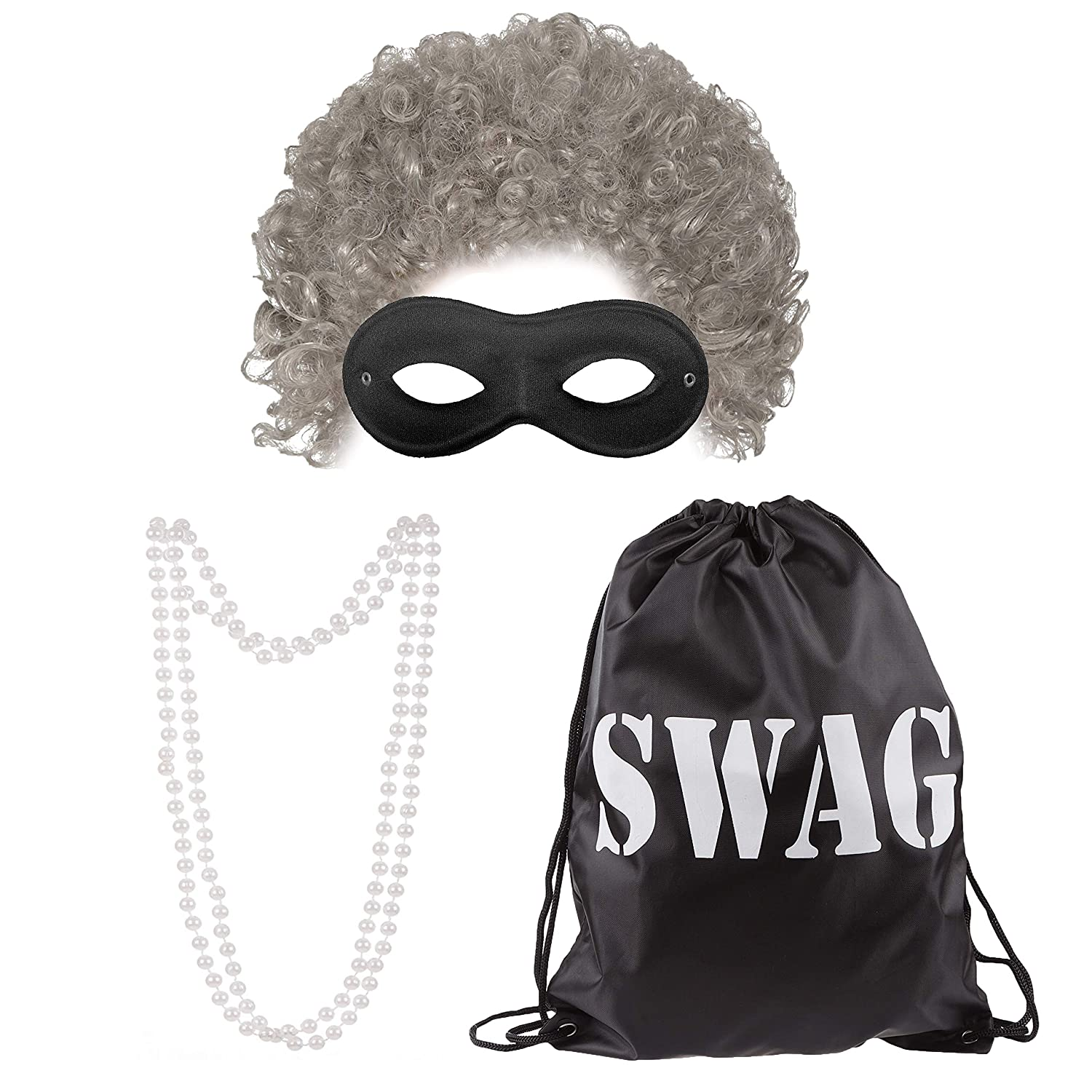 AFRO /& EYE MASK Gangster Granny Grey Old Lady Wig World Book Day Fancy Dresses