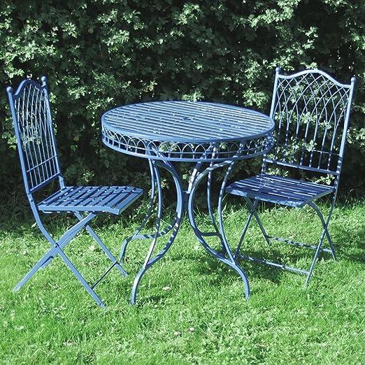 Mesa de jardín – mesa plegable y 2 sillas plegables – hierro forjado – Alta calidad acabado a mano envejecido Metal: Amazon.es: Jardín