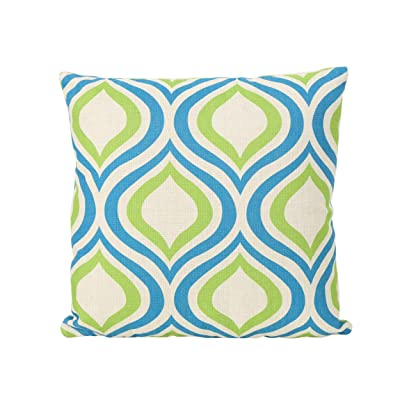 """Christopher Knight Home 305796 Mabel Outdoor Water Resistant 18"""" Square Pillow, Blue and Green Ikat: Home & Kitchen"""