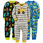 Simple Joys by Carter's Baby Boys' 3-Pack Snug Fit Footless Cotton Pajamas, Monsters/Dino/Construction, 24 Months