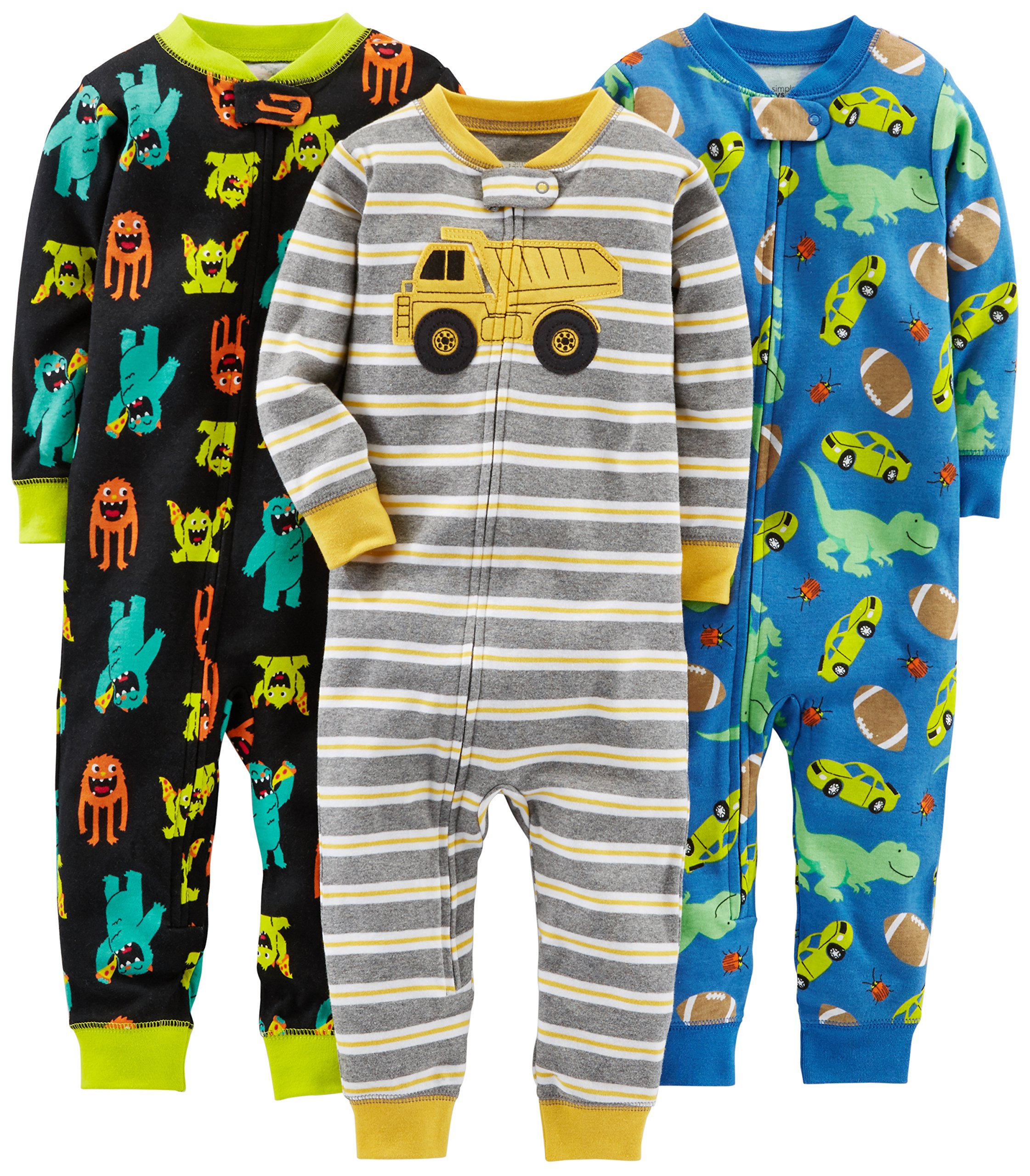 Simple Joys by Carter's Baby Boys' Toddler 3-Pack Snug Fit Footless Cotton Pajamas, Monsters/Dino/Construction, 3T