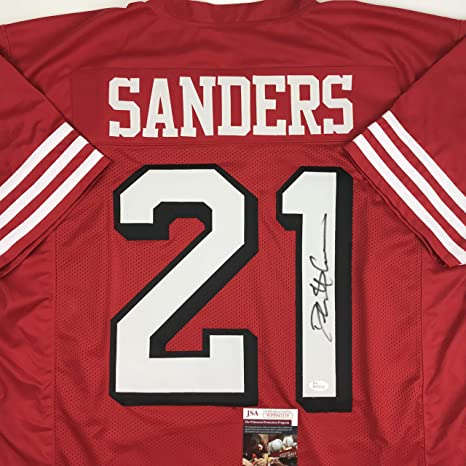 the latest 1b1aa f6e0f Autographed/Signed Deion Sanders San Francisco Red Football ...
