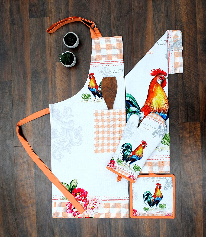 Amour Infini Kitchen Linen Set Farm Rooster | 100% Natural Cotton| Set of Apron, Oven Mitt, Pot Holder, Kitchen Towels | Eco - Friendly & Safe