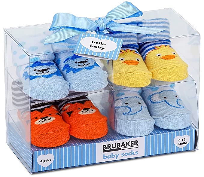 30b196c40d7dcc Amazon.com  BRUBAKER 4 Pairs of Baby Socks Boys 0-12 Months ...