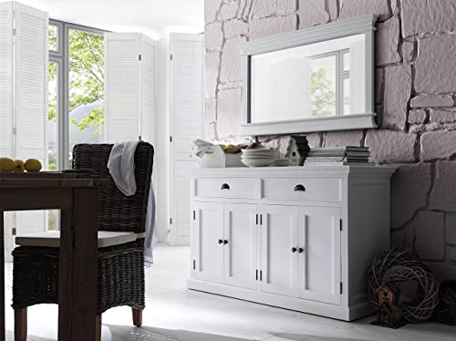 NovaSolo Halifax Pure White Mahogany Wood Sideboard Dining Buffet With Storage And 2 Drawers