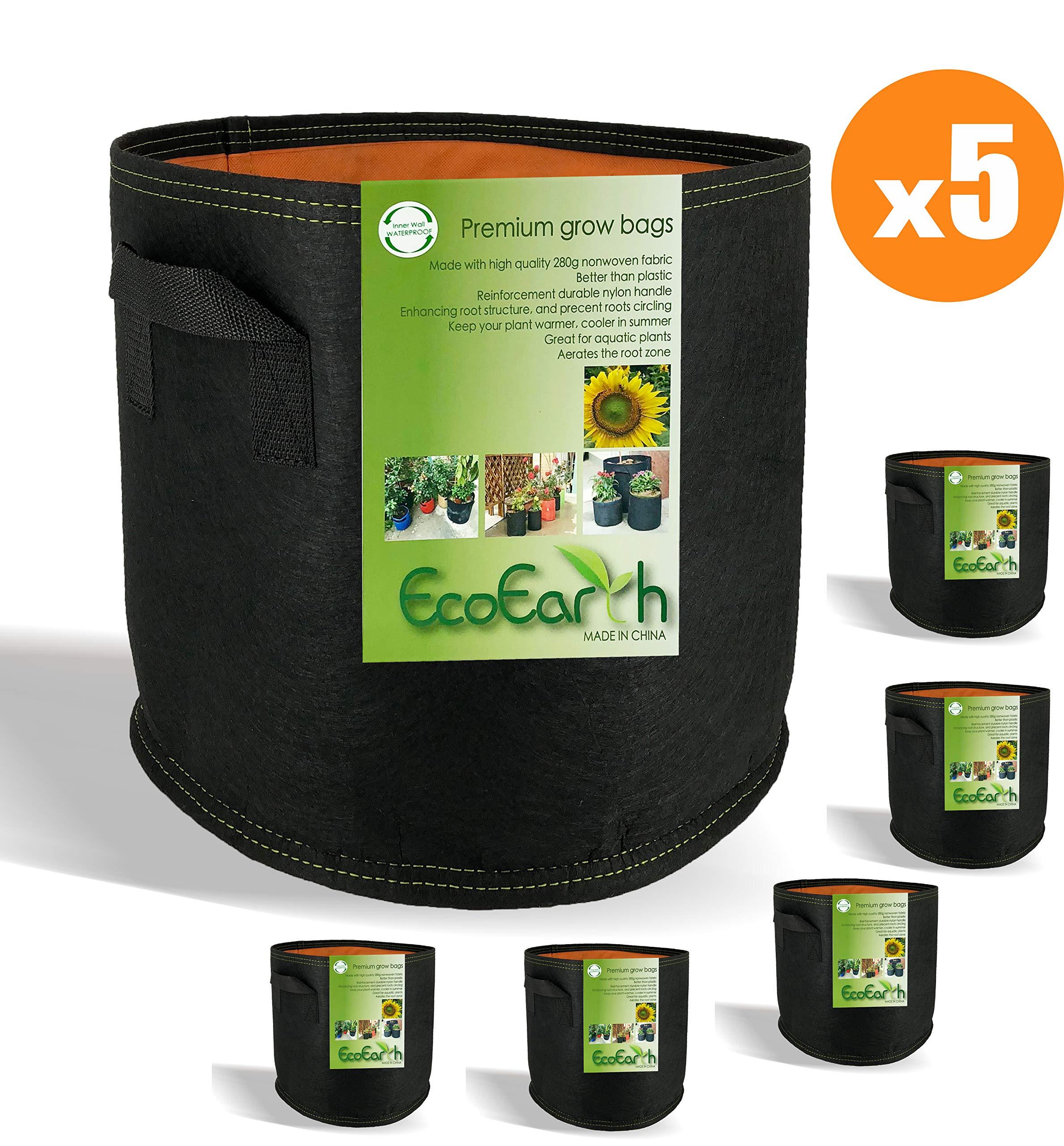 EcoEarth 7 Gallon Grow Bags (Premium Material 5 Pack) / Waterproof Side Wall/Grow Bags 7 Gallon/Fabric Pots with Handles/Nonwoven Grow Bag/Fabric Plant Pots/Growing Bag/Garden Planter Bag