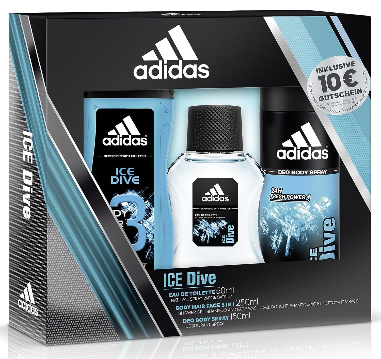 adidas Ice Dive Eau de Toilette + Deodorant Body Spray + Shower Gel + Online Shop Gutschein, 300 ml 31100092000