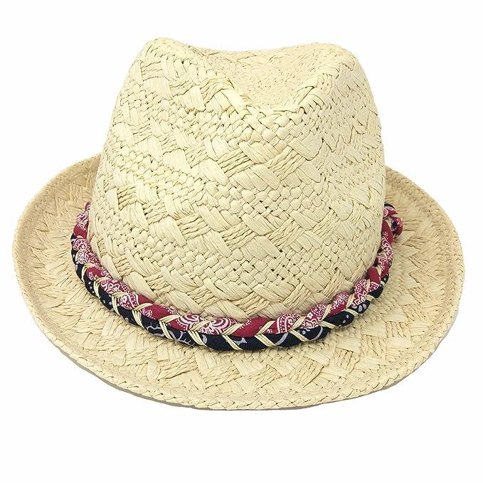 PULI Mujer retro sombrero de paja trenzado Panamá: Amazon.es: Deportes y aire libre