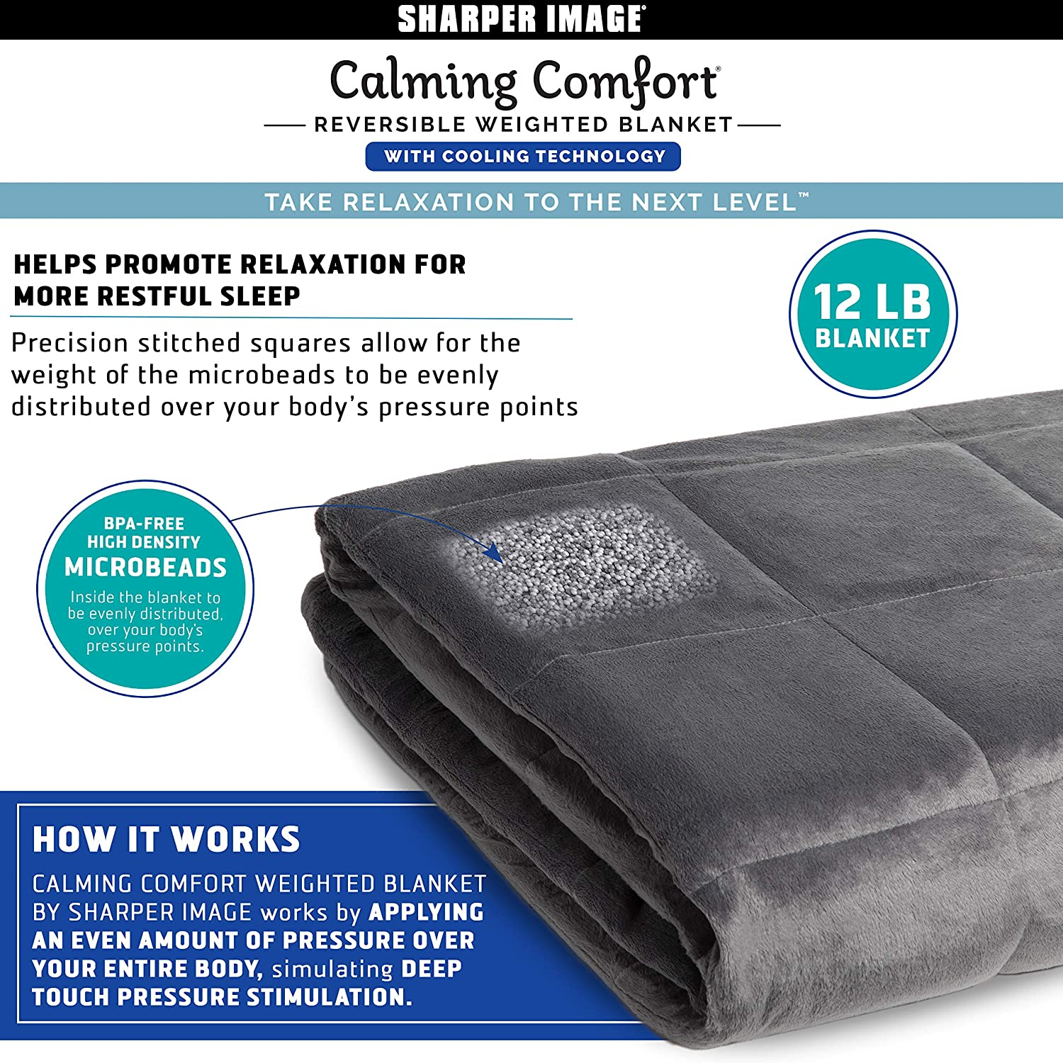 Calming Comfort Reversible Cooling Weighted Blanket By