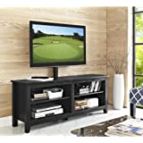 "WE Furniture 58"" Wood TV Stand Console with Mount, Black"