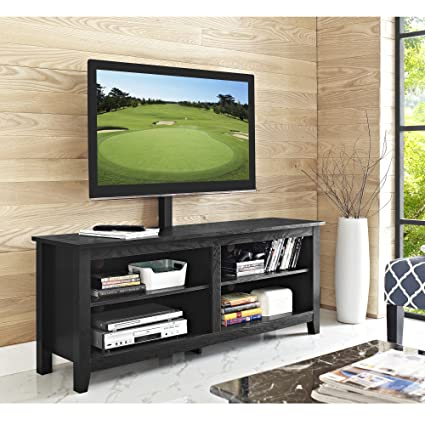 WE Furniture 58u0026quot; Wood TV Stand Console With Mount, ...