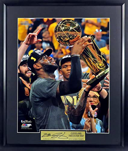 """477bfec8236 Cleveland Cavaliers LeBron James """"The Trophy"""" 16x20 Photograph (SGA  Signature Engraved Plate Series"""