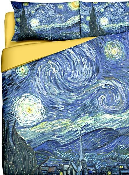 Tele D Autore Copripiumino.Tele D Autore Set Di Copripiumino Van Gogh Notte Stellata Blu
