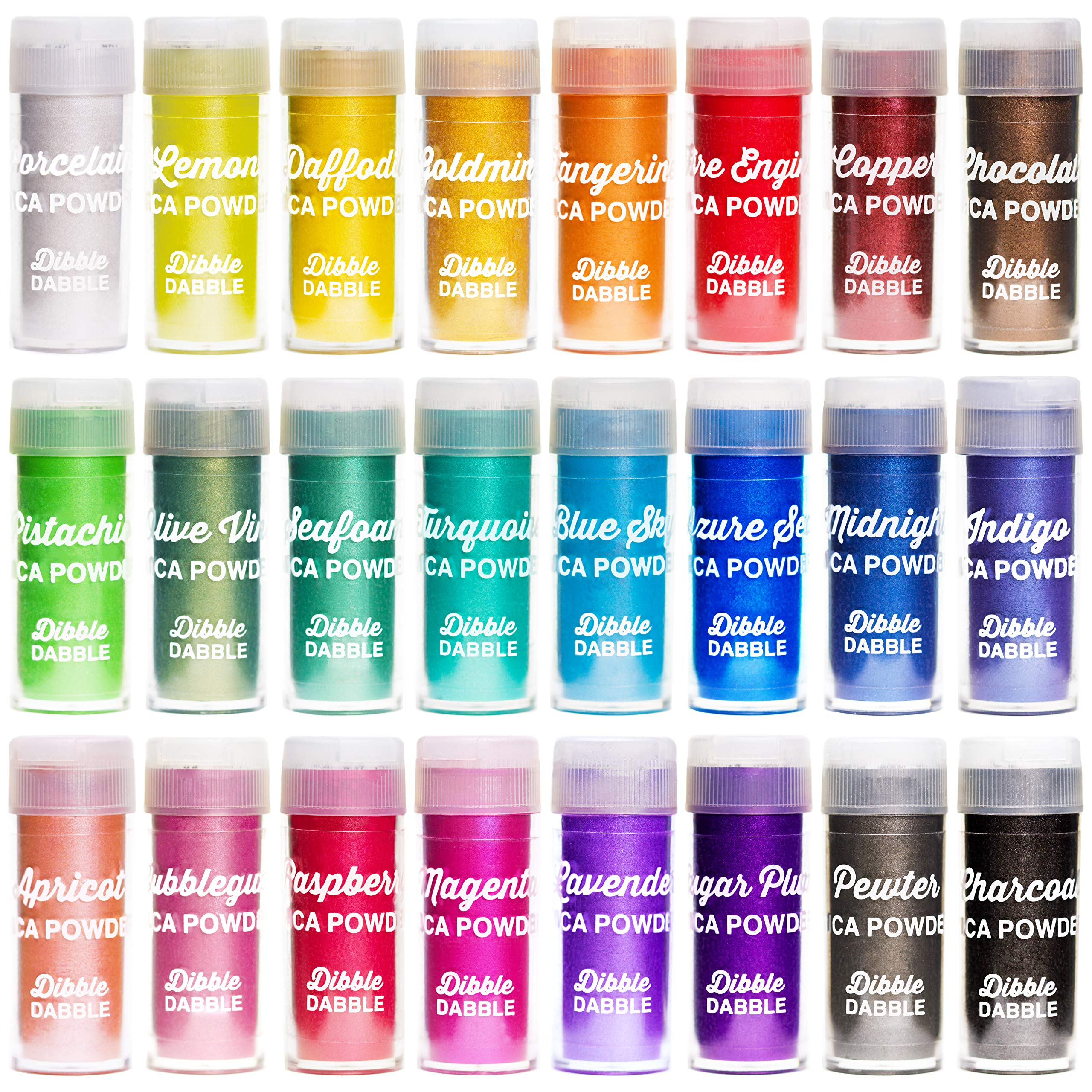 Dibble Dabble Mica Powder 24 Color Shake Jars – 240g Set - Cosmetic Grade Mica Pigment Powder for Soap Making, Epoxy Resin, Lip Gloss, Nails, Bath Bombs, Slime