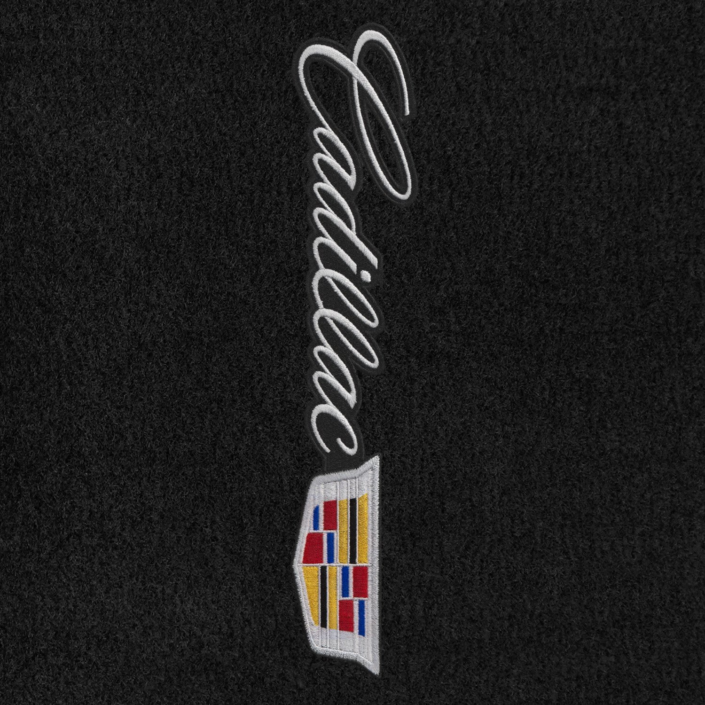 Lloyd Mats VelourtexブラックフロントフロアマットキャデラックXTS 2015 – 18 with SidewaysシルバーCadillac Crest and Cadillacレタリングアップリケ B07BNZS11D  - -