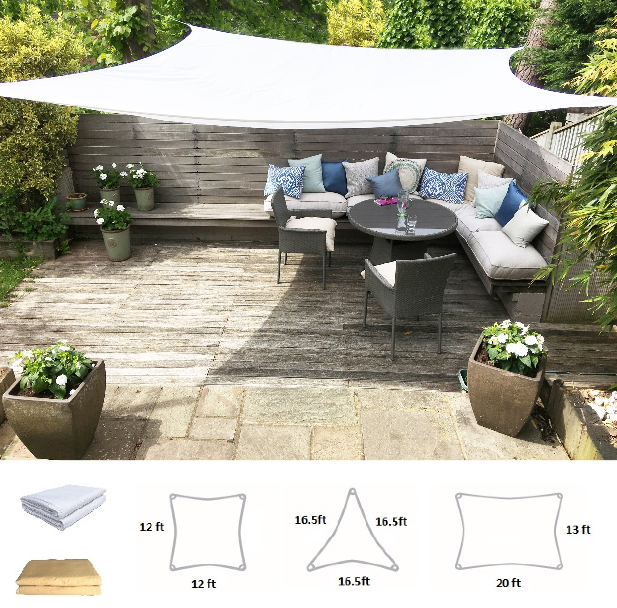 Clara Shade Sail Waterproof UV Sun Block Garden Patio Canopy Awning Outdoor Indoor Rectangle 20'x13' Pure White