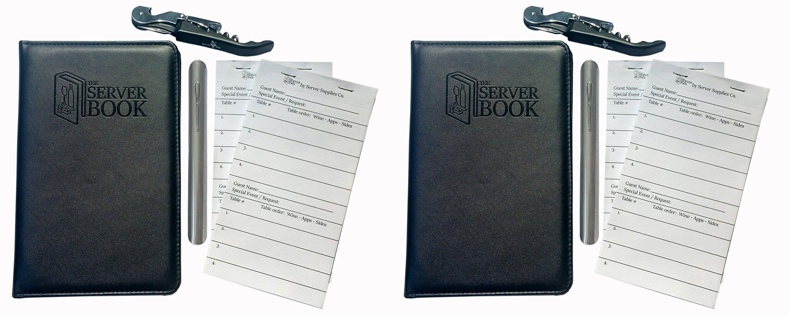 2 Server Book with Zipper Pocket - 2 Wine Keys - 2 Stainless Steel Crumbers - 4 Server Pads - Black Waitress/Waiter Book - Food Service Equipment & Supplies - Menu & Check Displayers (2)