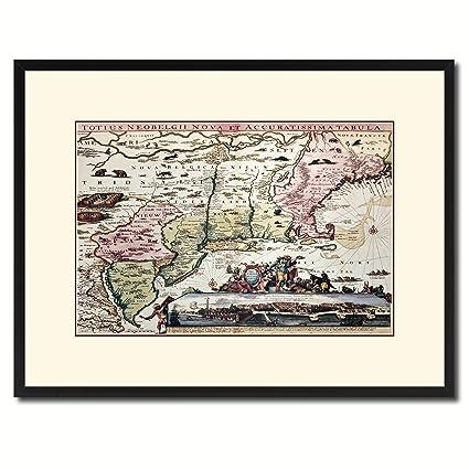 Amazon.com: New England Vintage Antique Map 36086 Print on Canvas ...