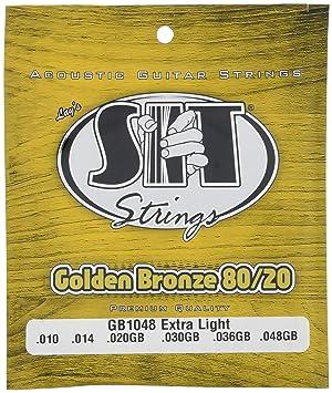SIT GB1048 - Juego de cuerdas para guitarra acústica y guitarra eléctrica de bronce y dorado, 17807: Amazon.es: Instrumentos musicales