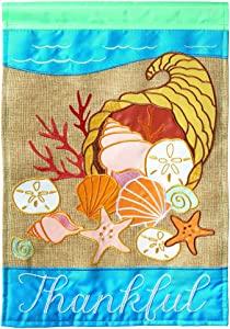 Magnolia Garden Coastal Thanksgiving Bountiful Beach 29 x 42 Large Harvest House Flag