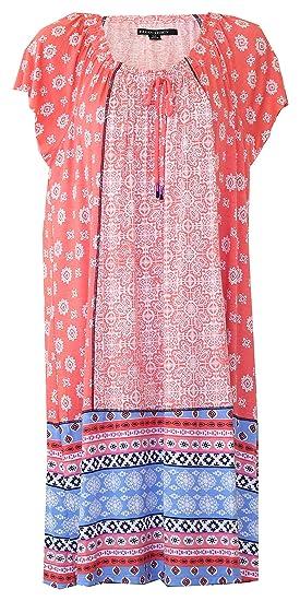 ede4bcb2e22 Ellen Tracy Multi Geo Print Lounge Dress Nightgown (Light Orange Multi Geo  Print with
