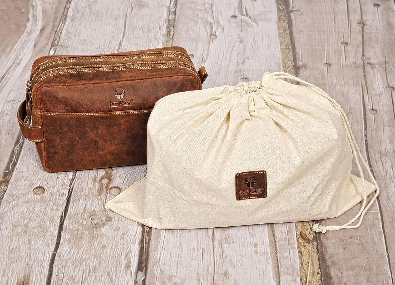 Damen und Herren Kulturtasche aus Leder Kosmetiktasche f/ür die Reise DONBOLSO/® Kulturbeutel Stockholm