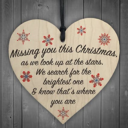 xld store missing you this christmas stars wooden hanging heart plaque xmas tree decoration