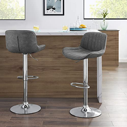 Volans Bar Stools Set of 2, Kitchen Counter Height Adjustable Swivel Armless Tall Bar Stools with Backrest, Mid Century Modern Retro Grey PU Leather Fabric Upholstered Pub Height Bar Stool Chairs