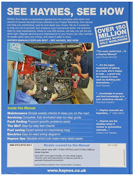 vivaro wiring diagram manual vivaro image wiring haynes 5552 service and repair workshop manual amazon co uk car on vivaro wiring diagram manual