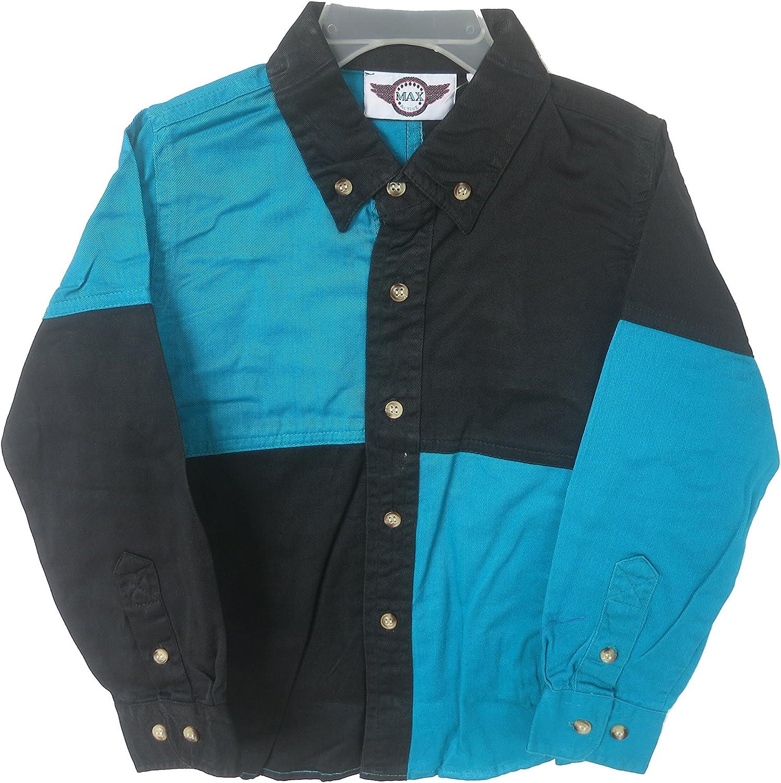 MAX Active - Camisa - Cuadrados - Cuello ala - para niño Turquesa Negro Small: Amazon.es: Ropa y accesorios