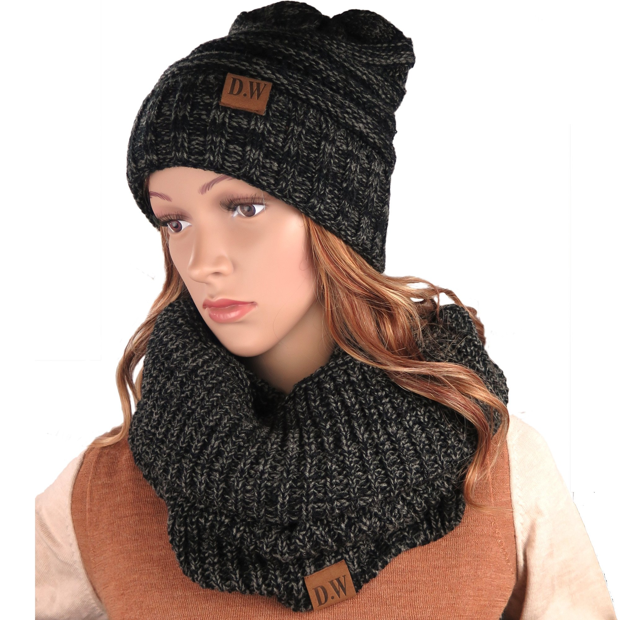 Knit Infinity Loop Scarf And Beanie Hat Set, Warm For The Winter Charcoal By Debra Weitzner
