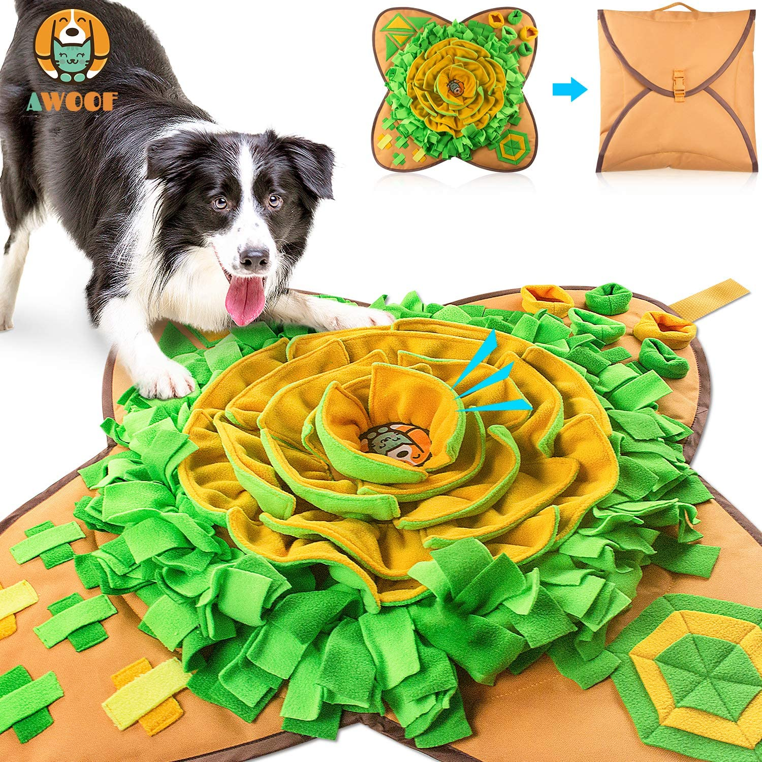 AWOOF Snuffle Mat Pet Dog Feeding Mat, Durable Indestructible Interactive Puzzle Dog Toys Encourages Natural Foraging Skills
