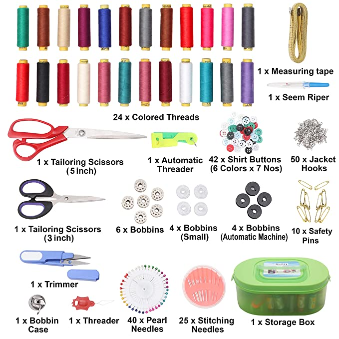 new style 5e83a 49796 Kurtzy® Sewing Kit Premium Sewing Supplies Thread with Most Useful Colors  and Extra quality sewing Accessories and 2 Scissors  Amazon.in  Home    Kitchen