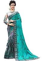 Nivah Fashion Silk & Net Saree With Blouse Piece(Nh.K710_Firozi Free Size)