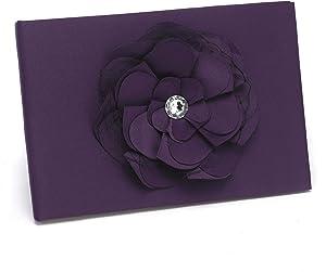Hortense B. Hewitt Wedding Accessories Floral Fantasy Collection Guest Book, Eggplant Purple