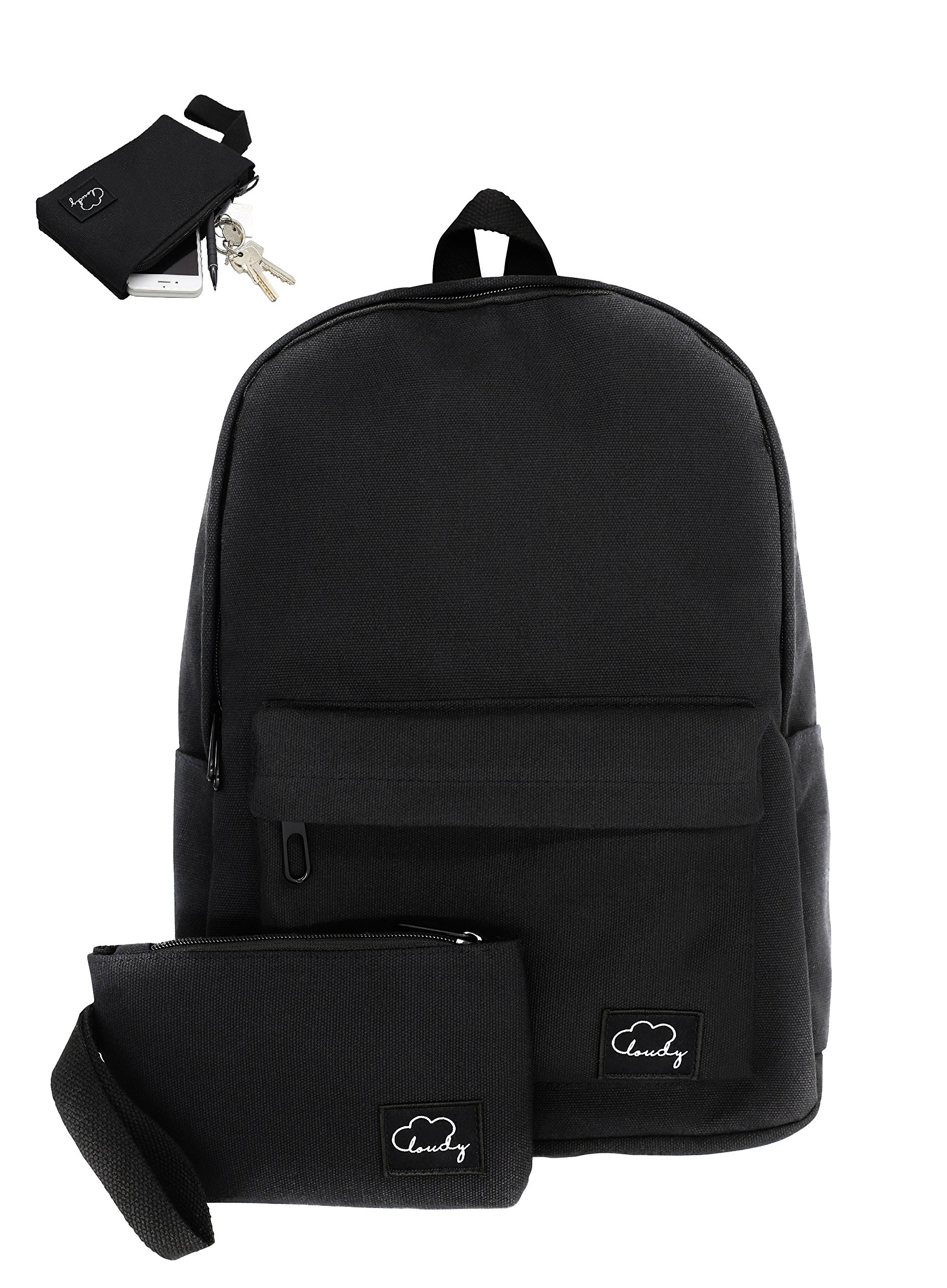 School Backpack for Women Girls Man + BONUS Matching Zipped Wallet | 13'' Mac or Smaller Laptop Travel Black Backpack | 100% Organic Cotton | Perfect for High School, College, Hiking or Gym by CLOUDY