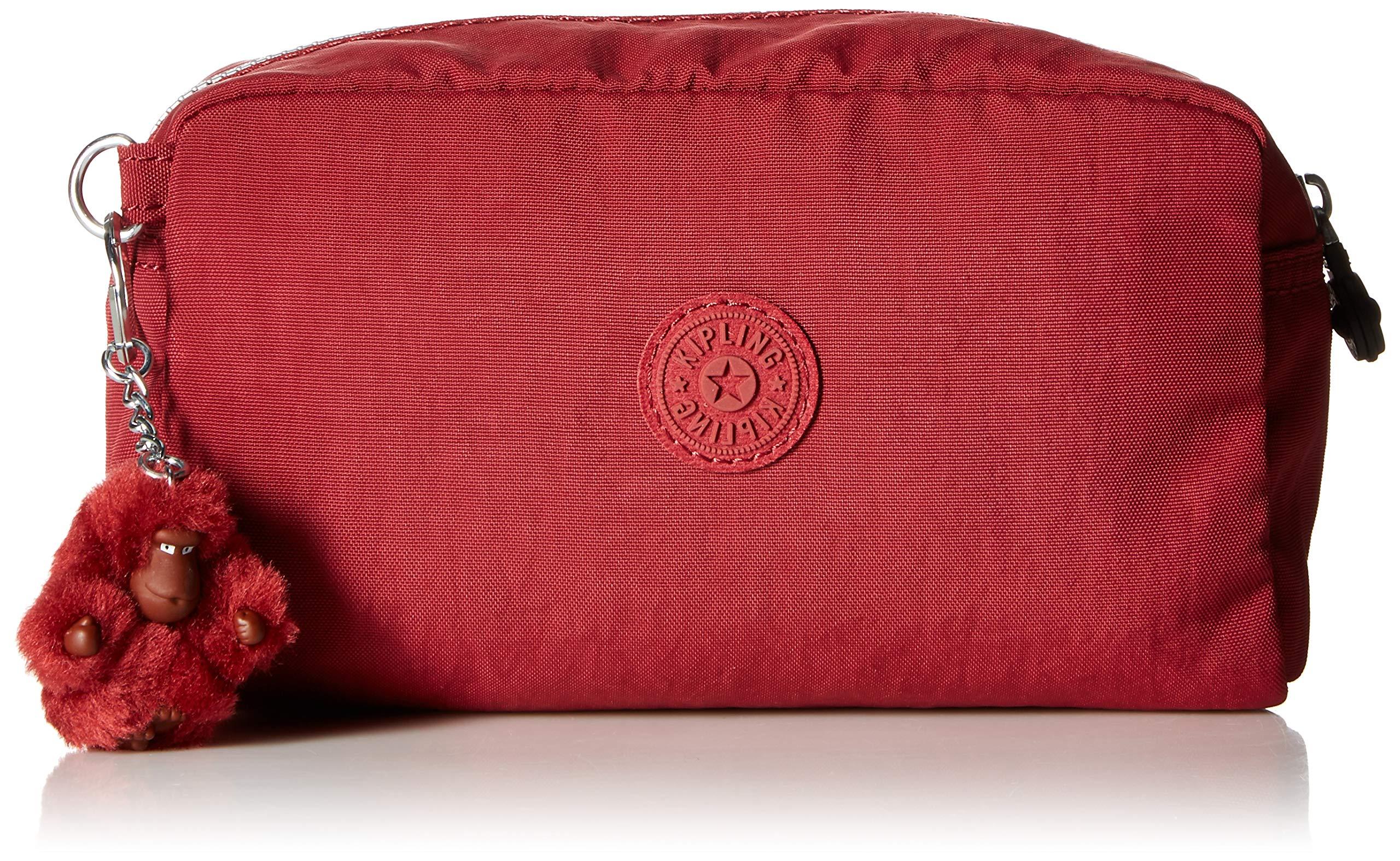 Kipling Gleam Multi Use Pouch, Zip Closure, Brick Red