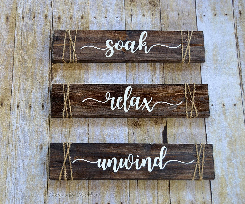 Amazon Com Soak Relax Unwind Signs Bathroom Decor Rustic Farmhouse Bathroom Wall Decor Set Of 3 Wood Signs Gift For Her Handmade