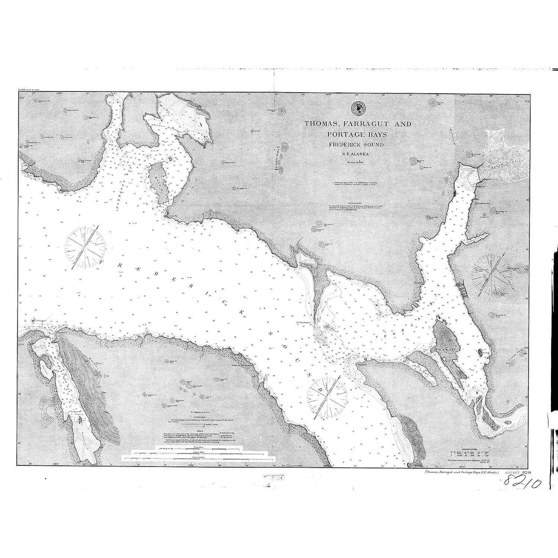 Frederick Sound Alaska Map.Amazon Com Vintography 16 X 20 Glossy Nautical Map Printed On Metal