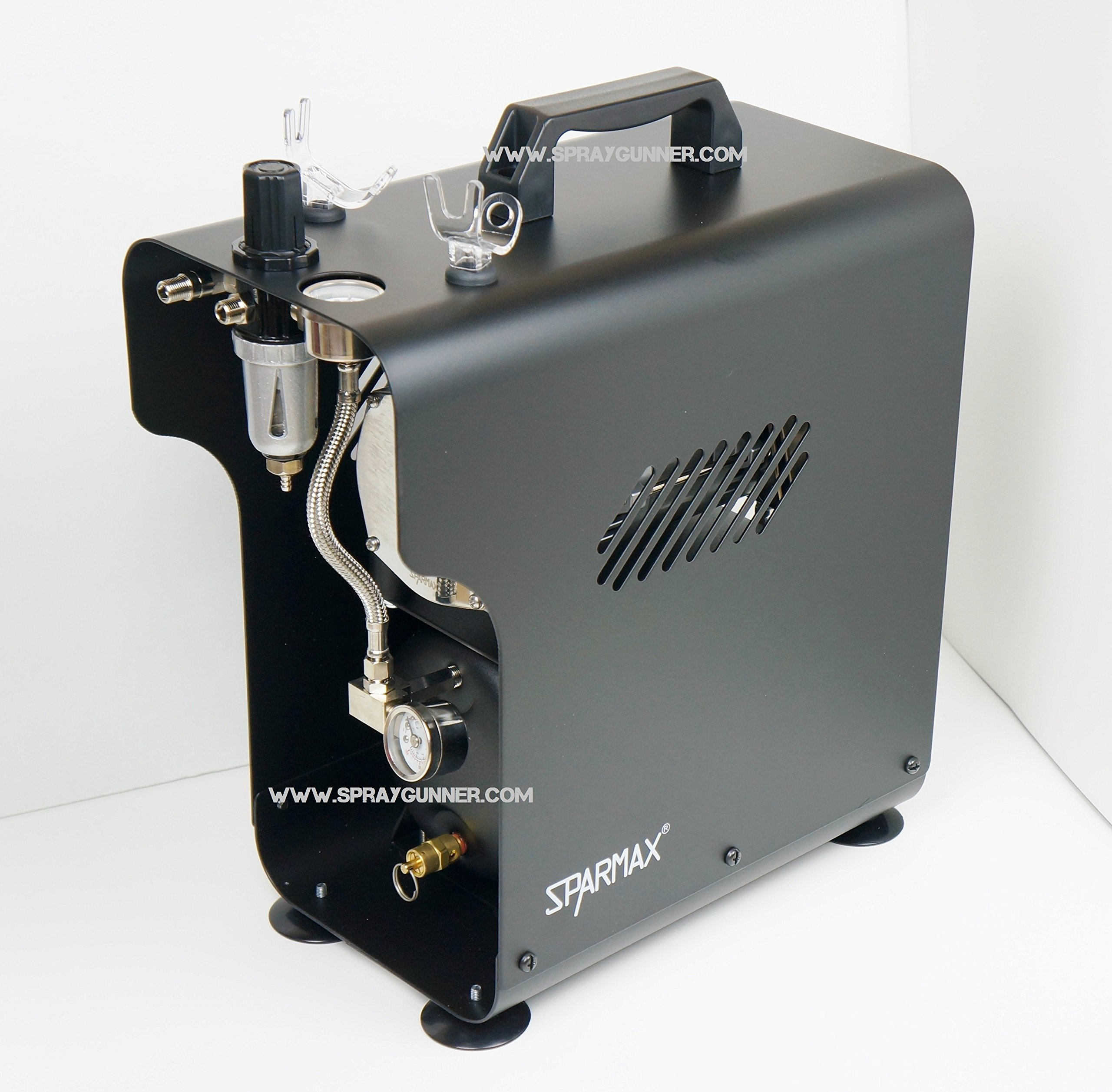 Compressor for airbrush Sparmax TC-620X up to 32 LPM with auto-off function and 2 braided hoses included! by SprayGunner
