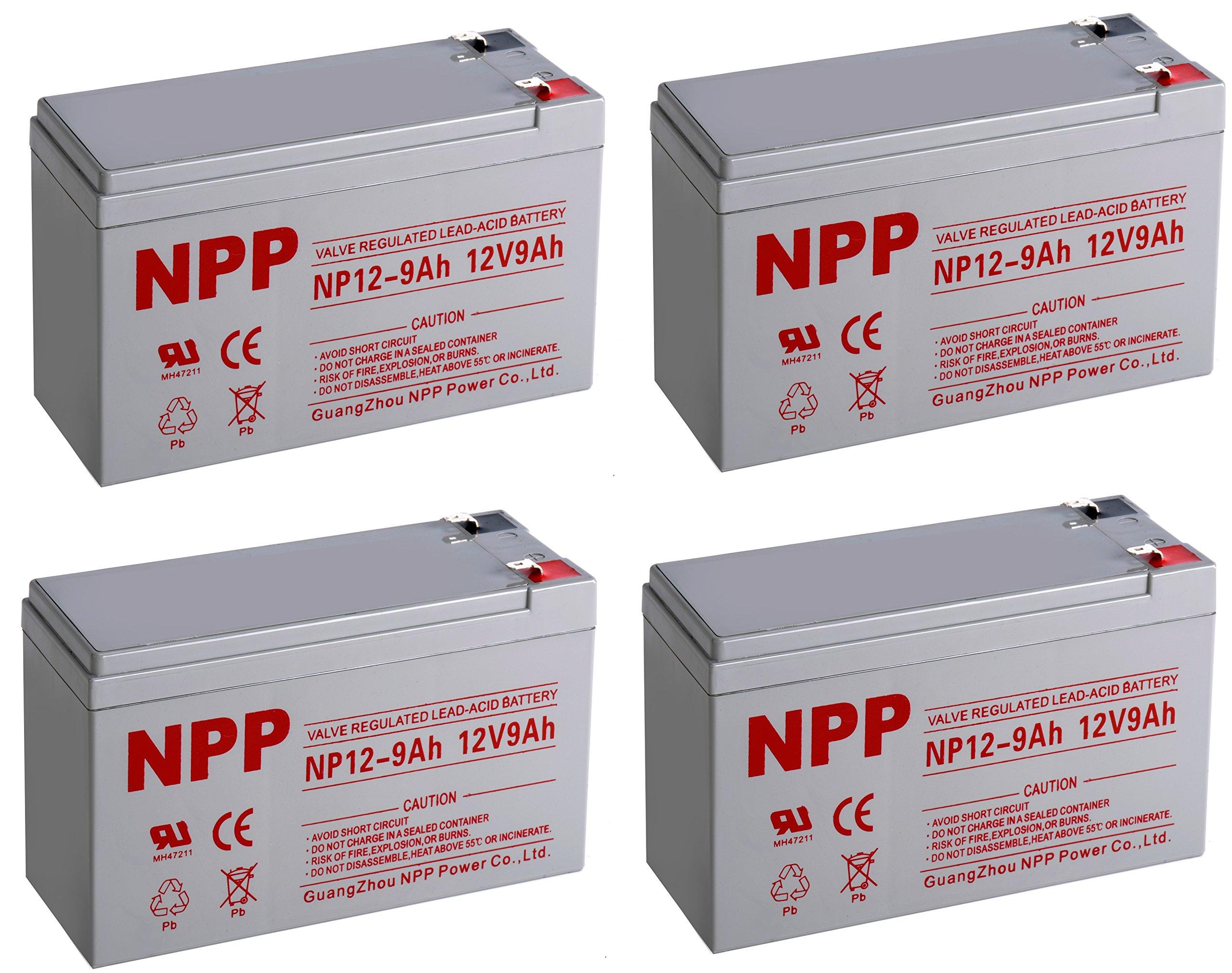 NPPower NP12-9Ah SLA Sealed Lead Acid 12V 9Ah Battery F1 Style Terminals/(4pcs)