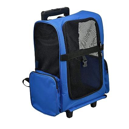 9b5825534a [pro.tec] 2 in 1 zaino per cani / trolley cani - trasportino borsa per cane/ gatti (blu) con 4 ruote: Amazon.it: Casa e cucina